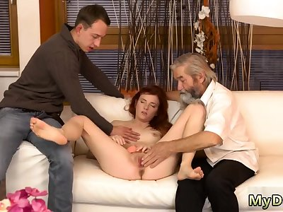 Blonde with monumental tits rides her man first time