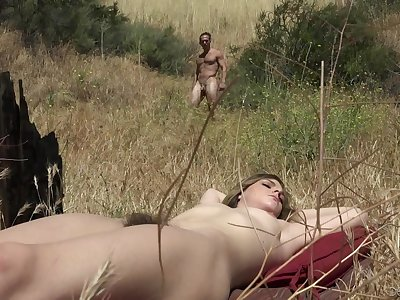 A nudist stiffener enjoying some moistness make the beast with two backs outdoors