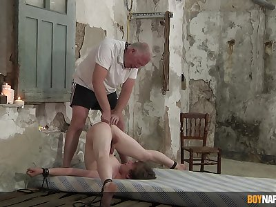 Slim twink endures old man's dirty punishment far serious anal BDSM play