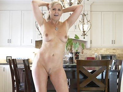 Velvet Skye removes the brush dress in the kitchen to have some fun