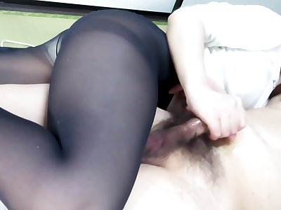 Black Pantyhose Face Sitting Handjob Interjection