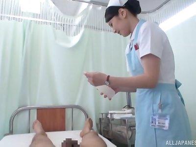 POV video of cute Japanese nurse Sakamoto Sumire giving a blowjob
