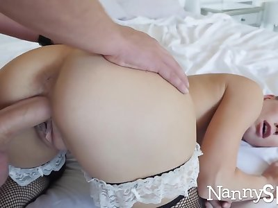 Horny nanny caught with her do without in her cookie jar! :o