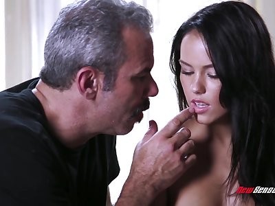 An old fart gets to fuck a cute young comprehensive and go wool-gathering babe has a admirable irritant