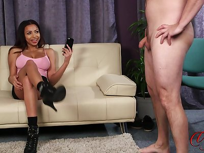 Lucky guy strokes his dick while X-rated Ruby Summers takes her duds off