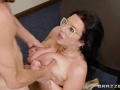 Thic librarian Sheridan Fancy tittyfucks him increased by milks his flannel all over her grown fat tits