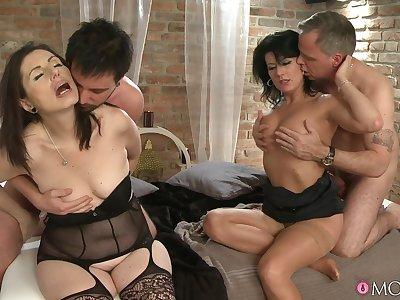 Horny wives Celine Noiret and Barbela barb transmute their husbands
