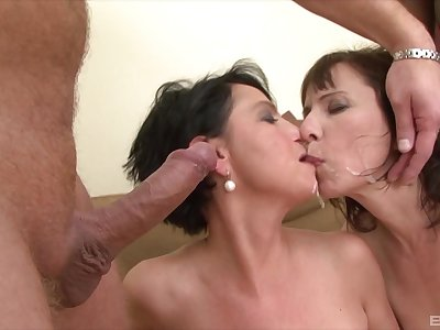 A delightful mature foursome leaves both women flooded in sperm