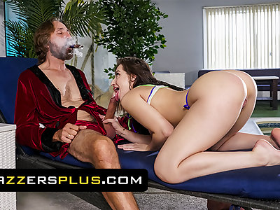 Pretty Babe Aubree Valentine Rides An Grey Man And Gets His Seed