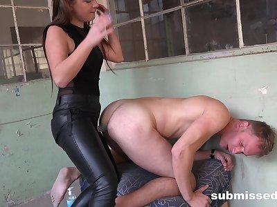 Dominant amateur exasperation fucks lover nearly strap-on