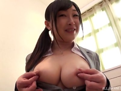 Japanese amateur chick gets screwed off out of one's mind a rock present Asian dick