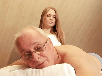 Pretty hot young masseuse is quite influential with riding cock of old pervert