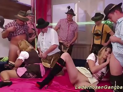 extreme wild oktoberfest after party lederhosen groupsex orgy with two dirndl girls