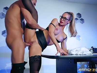 Professor look chick Nicole Aniston gets fucked by her boss overhead the table