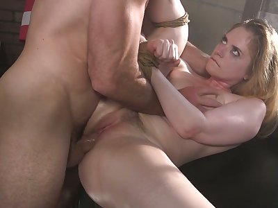 Wet cunt of slutty big racked whore Dresden is becomingly fucked upstairs table