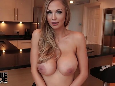 Killer, towheaded housewife in immense, rock-hard milk cans, Sophie Reade is doing some posing in hammer away kitchen