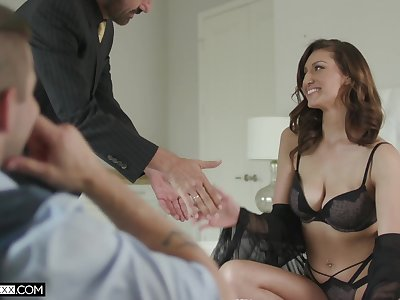 Useless cuckold prefers to behold his cheating busty wife Bella Rolland riding dick