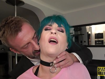 Blue haired Roxxie Sweetheart tied up and fucked by an old perv