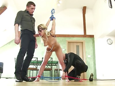 Beauteous woman faced with her first maledom triune