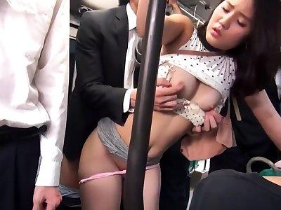 Subtitled outdoor Japanese nudist prepare jump rope game
